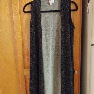 Lularoe Joy Vest, black w/ white speckles